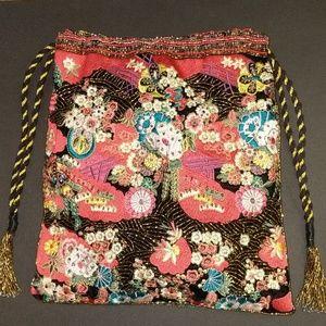 NWT Zara embroidered,bead, 2 sided drawstring bag